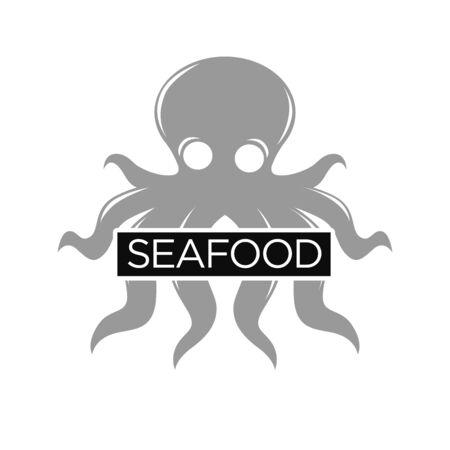Seafood restaurant monochrome emblem with grey octopus illustration