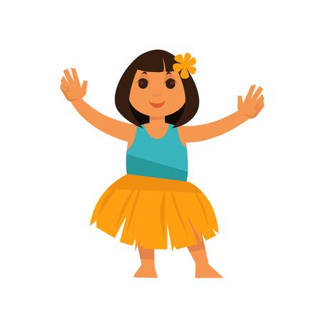 64d8d3d9dea Girl from Hawaii in straw skirt and blue shirt