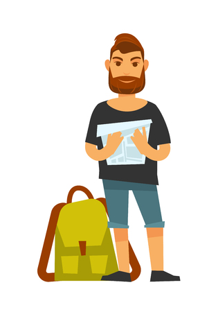 searches: Man standing near travelling backpack and holds map. Colorful illustration in flat design of male person wearing summer t-shirt and short jeans going to travel and searches for destination