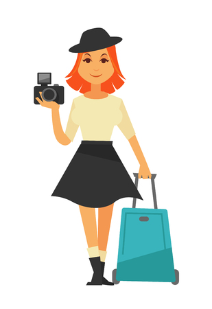 Young isolated woman holding black camera and moving azure travelling suitcase. Illustration in flat design of female person wearing beige shirt, dark skirt and hat and going to travel