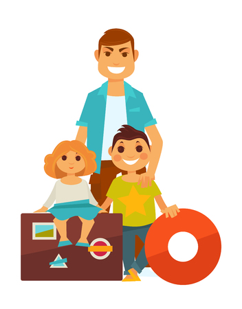 Father with small daughter near travelling bags and son holding red lifebuoy. Happy family going on seasonal summer vacations with necessary equipments colorful poster in flat design. Vectores