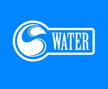 Blue label for mineral water. Aqua icon