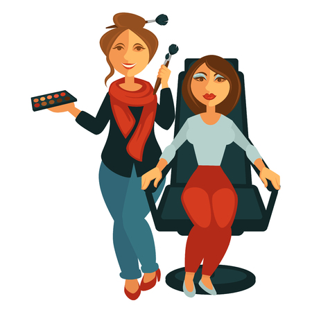Makeup artist near model in armchair vector poster
