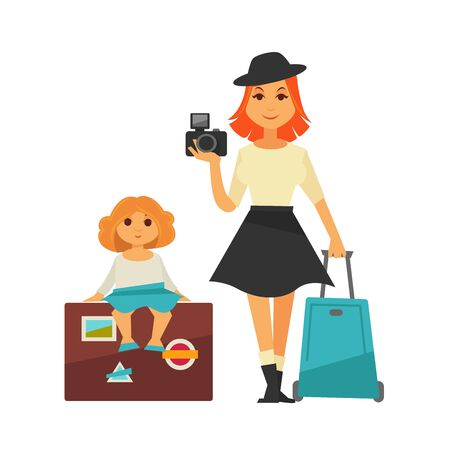 Mother and daughter go for traveling isolated illustration