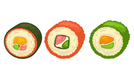 Delicious sushi rolls with fish and greens illustration Illustration