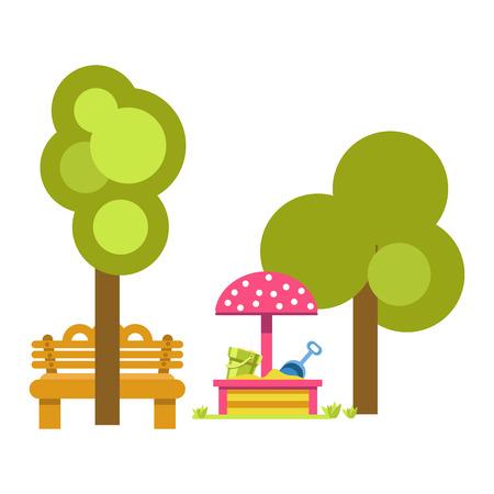 Sandbox for children near green trees and wooden bench