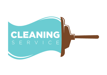 Cleaning service logo label with mop and water trace Illustration