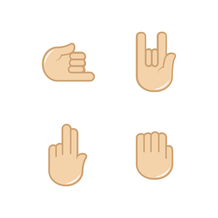 wave: Vector set of hand gestures icons. Sign language. Illustration