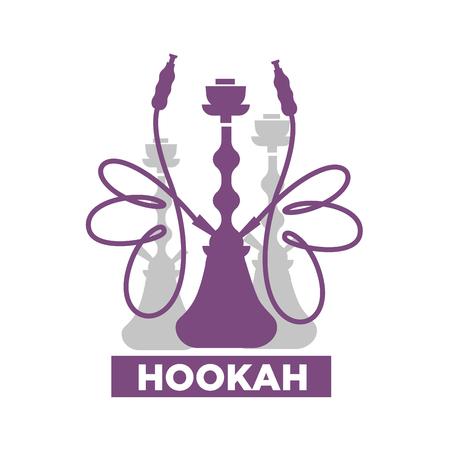 Hookah lounge bar isolated emblem with shisha silhouettes