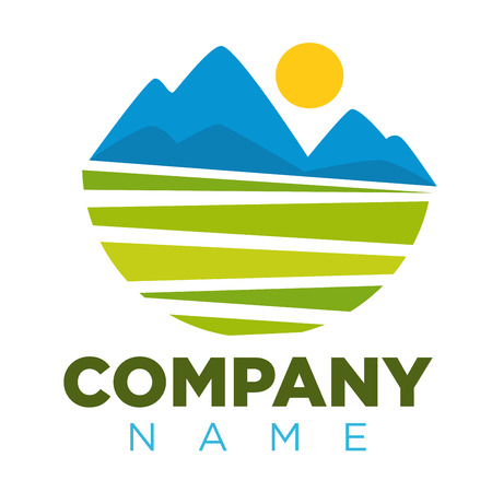 Company logotype with place for name and colorful landscape image