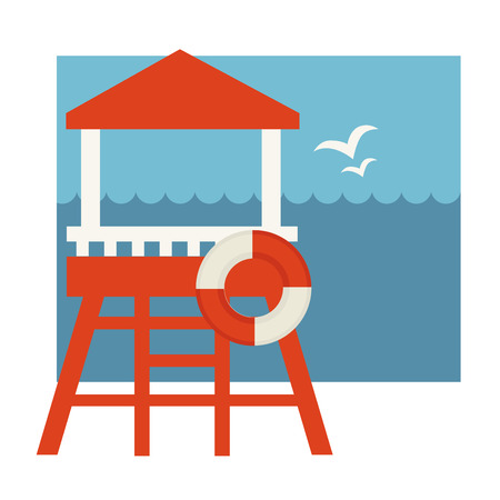 safe water: Lifeguard post with lifebuoy near sea with seagulls Illustration