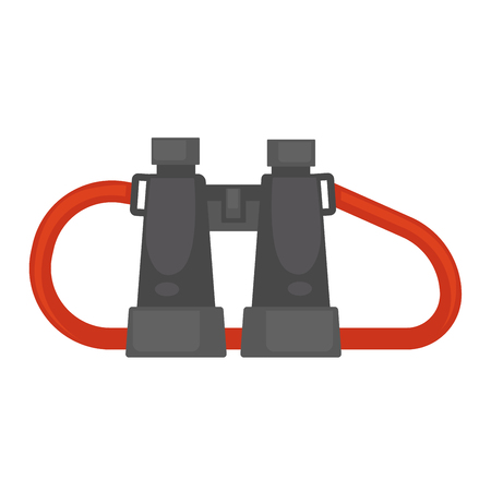 Pair of binoculars with red rope isolated illustration Illustration