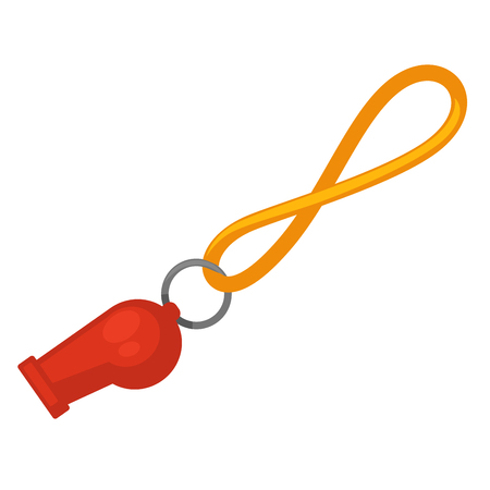 Lifeguard red whistle with yellow line isolated on white