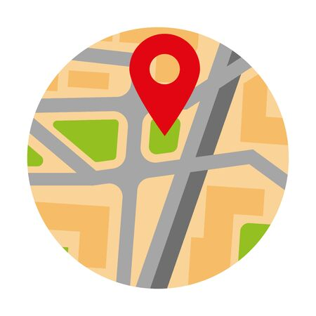 Colorful circle map with red pin location marker