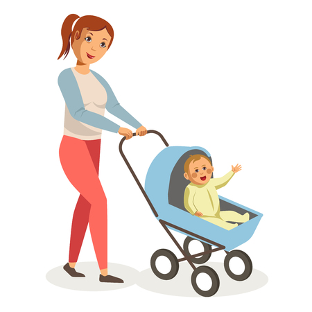 child care: Mother walks with son in blue baby carriage isolated illustration