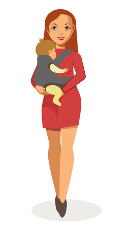 ベビー キャリアの分離されたイラストで歩く若い母親