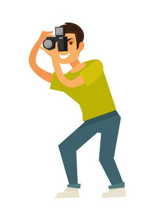 Man photographer takes photo with reflex camera isolated illustration