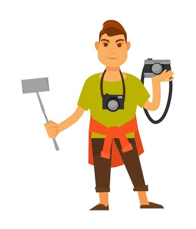 Modern photographer with modern and old equipment isolated illustration