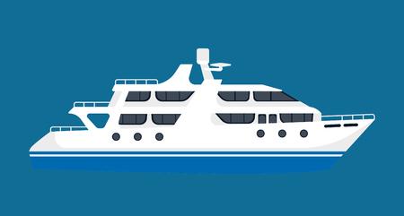 holiday background: White luxurious passenger liner isolated on blue background