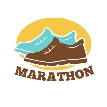 jog: Marathon competition promotional emblem isolated isolated illustration