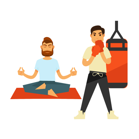 Man sitting in lotus position and doing yoga on red rug near standing boxing male person in special gloves near hanging punch ball in red and black vector. Illustration