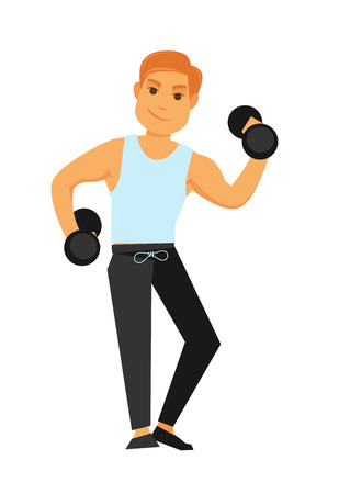 Fit redhead man in shirt and sports trousers and black shoes with heavy dumbbells does exercises isolated vector illustration on white background. Daily exercise that keep body in good physical shape. Stock Vector - 80496718
