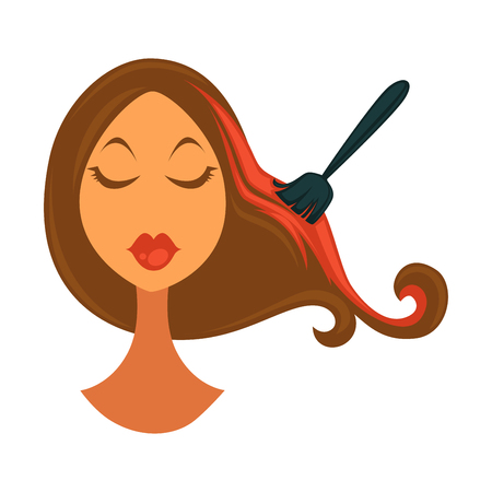 Womans head with closed eyes and long brown hair colored in bright red with special black brush isolated vector illustration on white background. Illustration