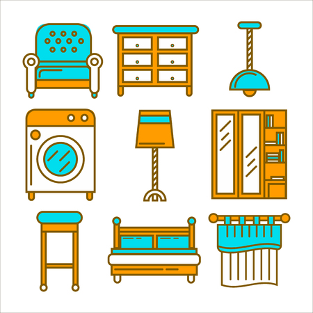 Colorful cartoon furniture isolated flat illustrations big set