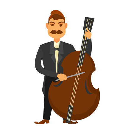 Man with moustache and wearing black suit plays contrabass with stick isolated on white. Close up vector illustration of standing male musician giving musical performance with big instrument