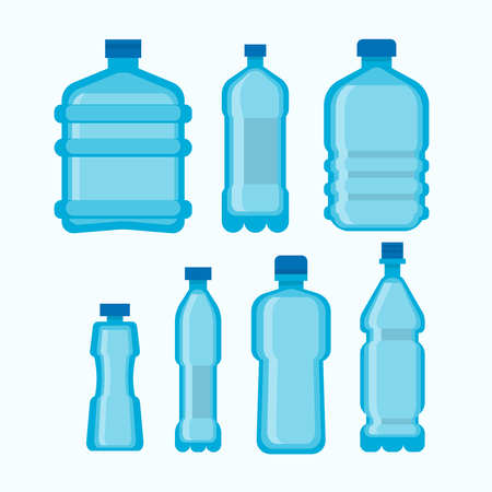 hydrate: Plastic water bottles vector set isolated on white Illustration