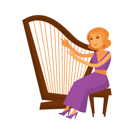 style: Female musician sitting and playing harp isolated on white. Closeup vector illustration of woman wearing long evening dress and shoes and giving concert on retro vintage wooden instrument