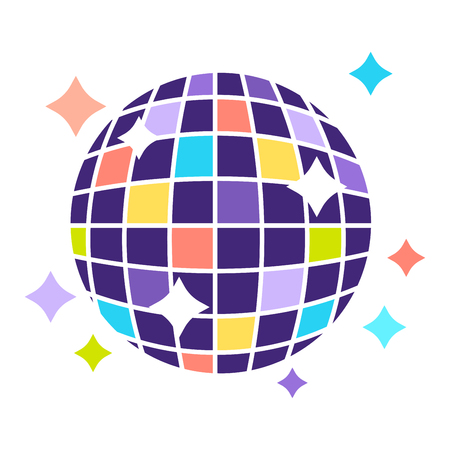 Disco ball that contains of small colorful squares and shines bright and stars around isolated vector illustration on white background. Dancing night decoration that hangs on ceiling and turns round. Illustration