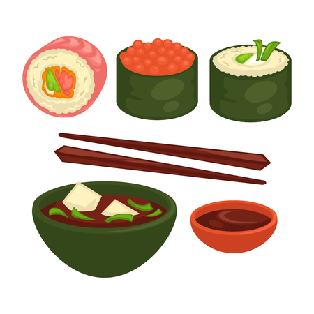 Chinese and Japanese delicious exotic food isolated vector illustrations set. Sushi in seaweed with salmon, red caviar and greens. Soup with leek and cheese cubes. Bowl of soy sauce and wooden sticks.