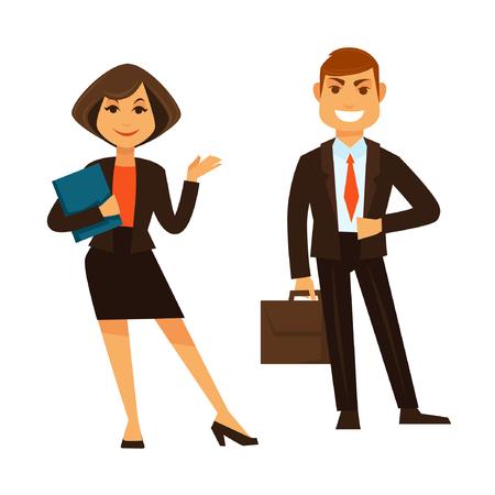 사업가 파란색 폴더와 화이트 절연 갈색 서류 서 들고 사업가 평면 디자인의 벡터 다채로운 포스터입니다. 사무실 장비와 양복을 입고 동료의 커플 웃 일러스트