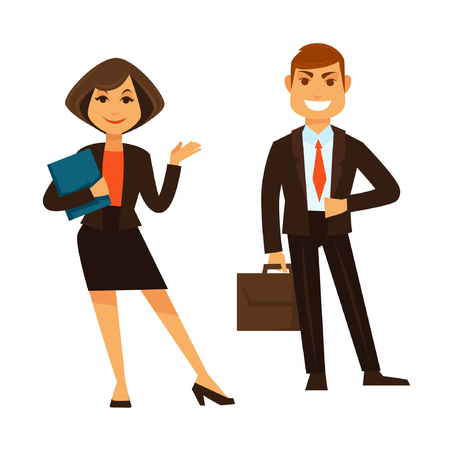 Businesswoman holding blue folder and businessman with brown briefcase standing isolated on white vector colorful poster in flat design. Smiling couple of co-worker wearing suits with office equipment Illustration