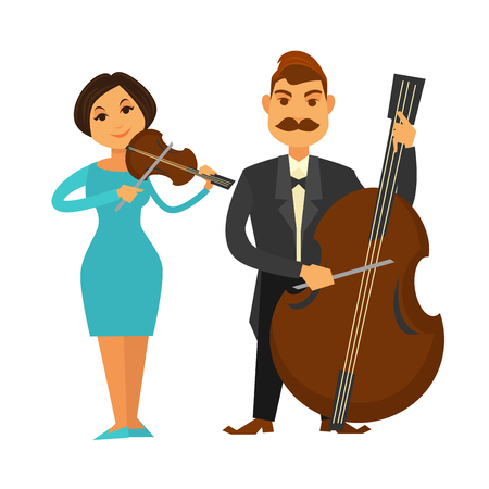 man: Nice woman in blue dress with firm hairstyle plays violin and man with mustaches in black tuxedo and bowtie performs music on big violoncello isolated vector illustrations on white background.
