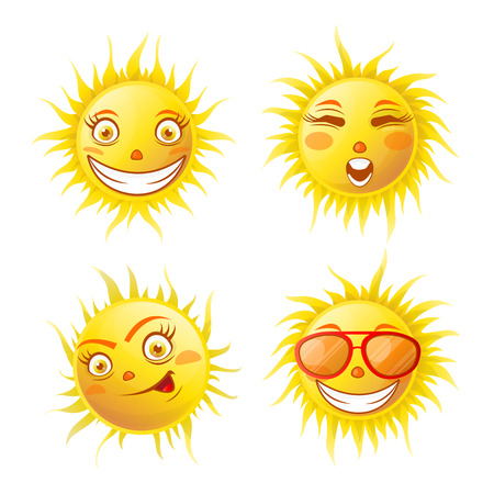 positive energy: Smiling yellow sun poster of four isolated on white