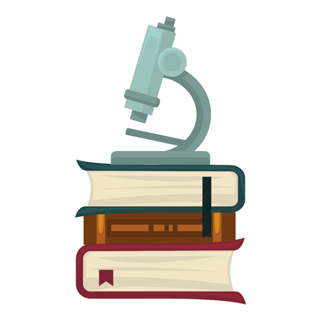 researches: Microscope for biological researches that stands on thick books
