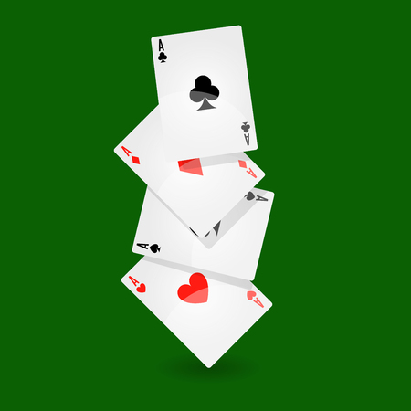 heap: Playing cards set of four on green background Illustration
