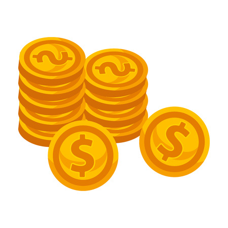 Golden coins piles with dollar sign isolated illustration Illustration
