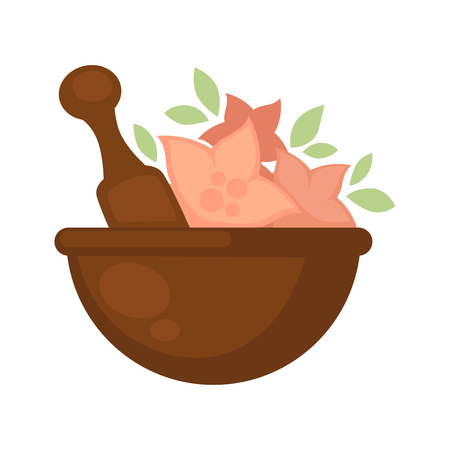 Brown bowl with flowers inside for cosmetic purposes Illustration