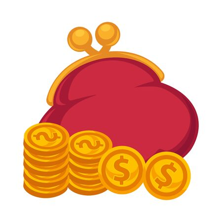economise: Thick red purse and gold coins isolated illustration