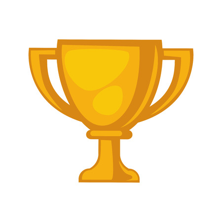Golden trophy cup isolated on white close up illustration
