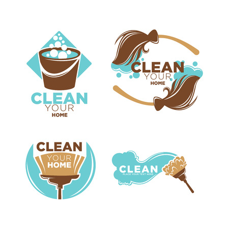 clean home: Clean your home service promo logotypes illustrations set