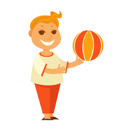 Redhead boy plays with colorful ball isolated illustration