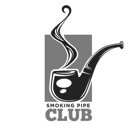 smoking pipe: Smoking club colorless vector logo label with pipe