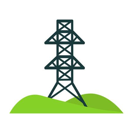Tour noir pour les fils sur un terrain avec des collines Banque d'images - 80641899