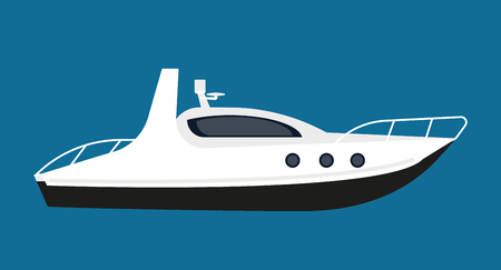 motorboat: Modern white boat for short distance cruises isolated illustration