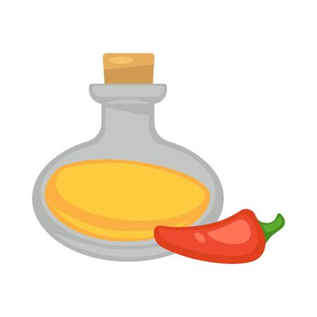 Oil in glass bottle near red long pepper on white