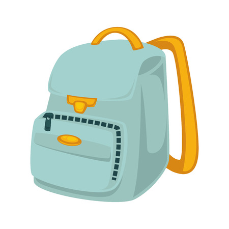 School backpack in blue and yellow colors isolated on white Illustration
